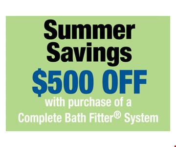 0% Financing with Wells Fargo Credit Approval. One offer per customer. One complete tub or shower, wall and valve. Coupon MUST be presented at time of consultation only. Offer applied to same day purchases. Valid only at participating Bath Fitter locations. See associate for details. Expires 09-04-17.