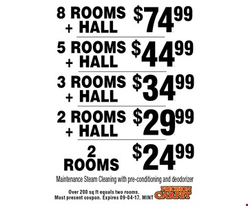 $44.99 5 Rooms + Hall Maintenance Steam Cleaning with pre-conditioning and deodorizer. Over 200 sq ft equals two rooms. Must present coupon. Expires 09-04-17. MINT