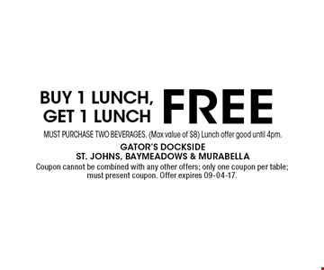 free Buy 1 Lunch, get 1 lunch. Coupon cannot be combined with any other offers; only one coupon per table; must present coupon. Offer expires 09-04-17.