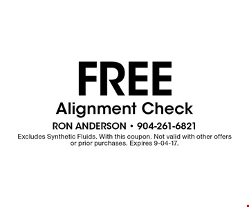 FREE Alignment Check. Excludes Synthetic Fluids. With this coupon. Not valid with other offersor prior purchases. Expires 9-04-17.