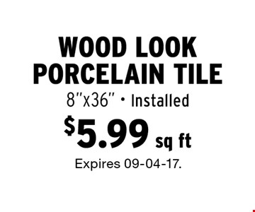 $5.99 sq ft Wood look porcelain tile 8
