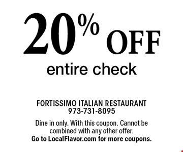 20% off entire check. Dine in only. With this coupon. Cannot be combined with any other offer. Expires 12-31-17. Go to LocalFlavor.com for more coupons.
