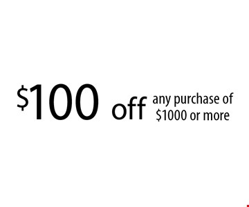 $100 off any purchase of $1000 or more. With this coupon. Not valid with other offers or prior services. Coupon must be presented upon estimate Expires 09-25-17.