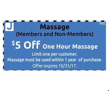Massage, Members and Non-Members. $5 Off One Hour Massage.