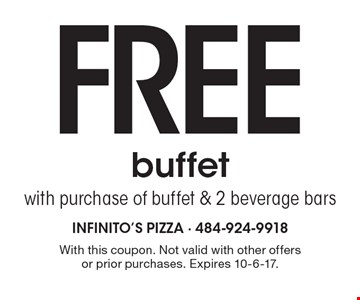 Free buffet with purchase of buffet & 2 beverage bars. With this coupon. Not valid with other offers or prior purchases. Expires 10-6-17.