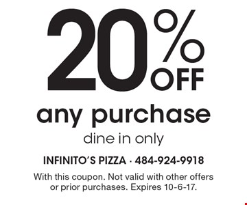 20% off any purchase. Dine in only. With this coupon. Not valid with other offers or prior purchases. Expires 10-6-17.