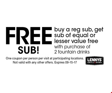 FREESub! buy a reg sub, get sub of equal or lesser value free