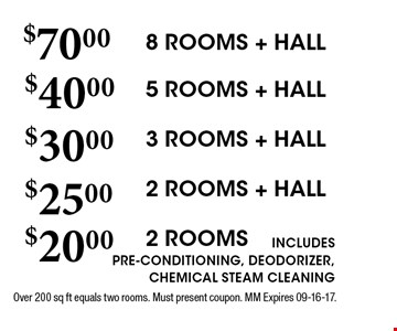 $70.00 8 ROOMS + HALL. Over 200 sq ft equals two rooms. Must present coupon. MM Expires 09-16-17. 5 ROOMS + HALL3 ROOMS + HALL2 ROOMS + HALL2 ROOMS