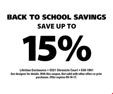 15% Save up to. See designer for details. With this coupon. Not valid with other offers or prior purchases. Offer expires 09-16-17.