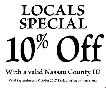 10% Off LOCALSSPECIAL. Valid September and October 2017. Excluding happy hour menu.