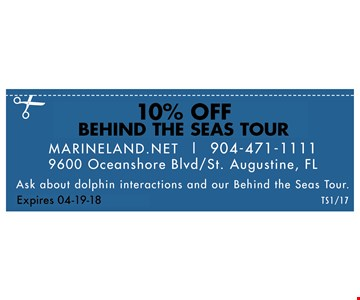 $1 off general admission. Marineland.net | 904-471-1111 - 9600 Oceanshore Blvd/ St. Augustine, FL, Ask about dolphin interactions & our behind the seas tour. valid 10/01/17 - 04-19-18