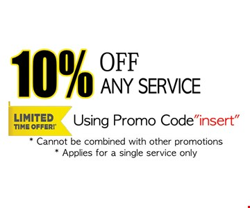 10% off any service using promo code