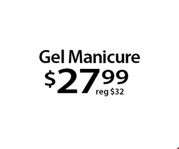Gel Manicure$27 .99. With this Clipper coupon. Not valid with other offers or prior services. Offer expires 10-23-17.