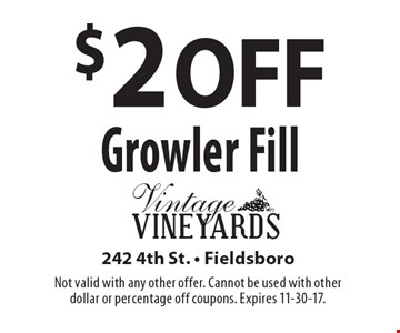 $2 OFF Growler Fill. Not valid with any other offer. Cannot be used with other dollar or percentage off coupons. Expires 11-30-17.