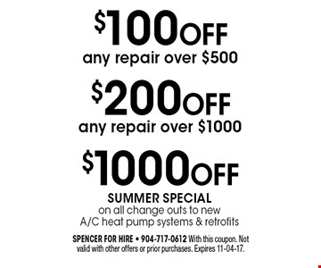 $100 OFF any repair over $500. spencer for hire - 904-717-0612 With this coupon. Not valid with other offers or prior purchases. Expires 11-04-17.
