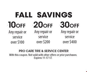 $10 OFF Any repair or service over $100. With this coupon. Not valid with other offers or prior purchases. Expires 11-17-17.