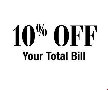 10% OFF Your Total Bill.
