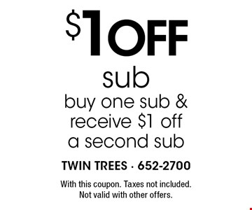 $1 off sub buy one sub & receive $1 off a second sub. With this coupon. Taxes not included. Not valid with other offers.