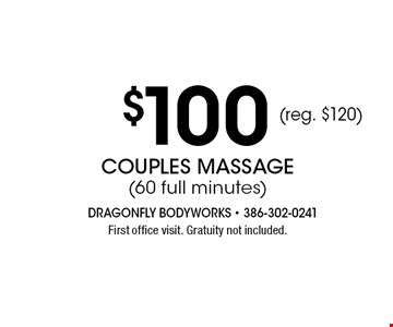 $100 Couples Massage 60 full minutes aromatherapy & hot towel foot-wraps included. Gratuity not included. Offer expires 11-04-17.