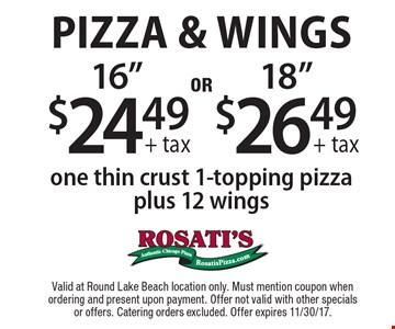 Pizza & Wings. $26.49 + tax 18