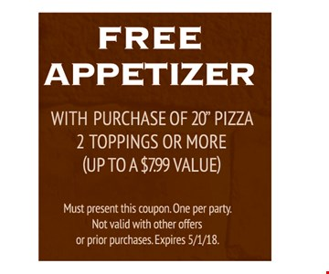 FREE Appetizer with purchase of 20