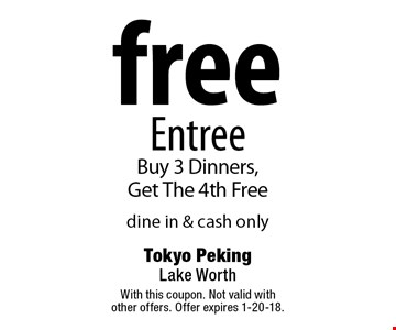 Free Entree. Buy 3 dinners, get the 4th free. Dine in & cash only. With this coupon. Not valid with other offers. Offer expires 1-20-18.