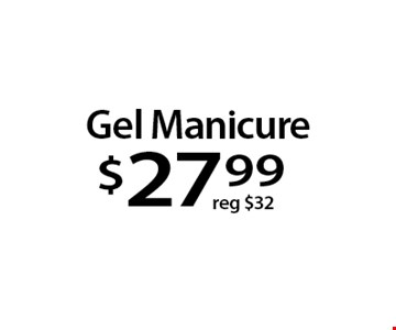 Gel Manicure$27 .99. With this Clipper coupon. Not valid with other offers or prior services. Offer expires 11-27-17.