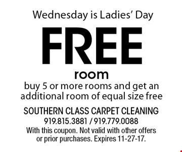 Free roombuy 5 or more rooms and get an additional room of equal size free. With this coupon. Not valid with other offers or prior purchases. Expires 11-27-17.