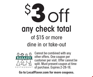 $3 off any check total of $15 or more. Dine in or take-out. Cannot be combined with any other offers. One coupon per customer per visit. Offer cannot be split. Must present coupon at time of purchase. Expires 2-28-18.