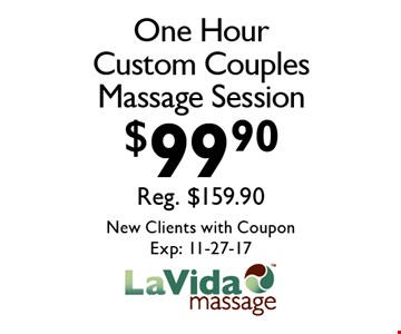 $99.90 One Hour Custom Couples Massage Session. New Clients with CouponExp: 11-27-17