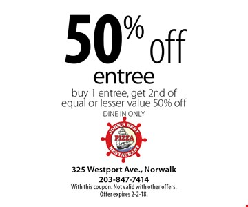 50% off entree. Buy 1 entree, get 2nd of equal or lesser value 50% off. Dine in only. With this coupon. Not valid with other offers. Offer expires 2-2-18.