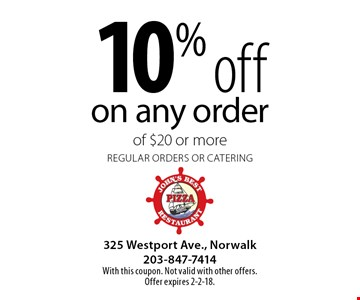 10% off on any order of $20 or more. Regular orders or catering. With this coupon. Not valid with other offers. Offer expires 2-2-18.