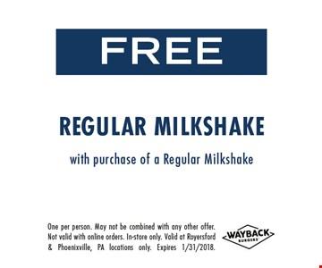 Free Regular Milkshake