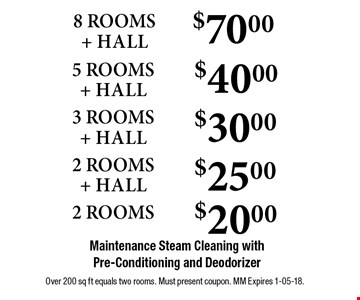 $70.00 8 ROOMS + HALL Maintenance Steam Cleaning with Pre-Conditioning and Deodorizer . Over 200 sq ft equals two rooms. Must present coupon. MM Expires 1-05-18.
