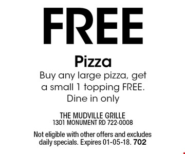 Free PizzaBuy any large pizza, get a small 1 topping FREE. Dine in only. Not eligible with other offers and excludes daily specials. Expires 01-05-18. 702