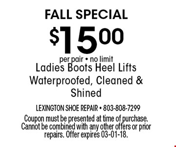 $15.00 Ladies Boots Heel Lifts Waterproofed, Cleaned & Shined. Coupon must be presented at time of purchase. Cannot be combined with any other offers or prior repairs. Offer expires 03-01-18.