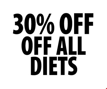 30% OFF OFF ALL DIETS.