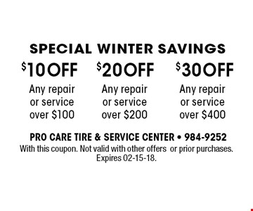 $10 OFF Any repair or service over $100. With this coupon. Not valid with other offers or prior purchases. Expires 02-15-18.