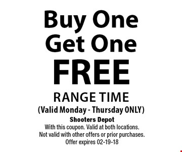 Buy One Get One FREE Range Time (Valid Monday - Thursday ONLY). Shooters Depot With this coupon. Valid at both locations. Not valid with other offers or prior purchases. Offer expires 02-19-18