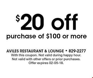 Receive a$25 Gift Card with the purchase of $100 Gift Card. AVILES Restaurant & Lounge - 829-2277With this coupon. Not valid during happy hour. Not valid with other offers or prior purchases. Offer expires 02-05-18.