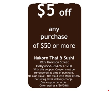 $5 off any purchase of $50 or more