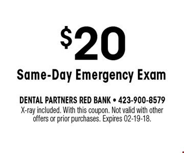 $20 Same-Day Emergency Exam. X-ray included. With this coupon. Not valid with otheroffers or prior purchases. Expires 02-19-18.
