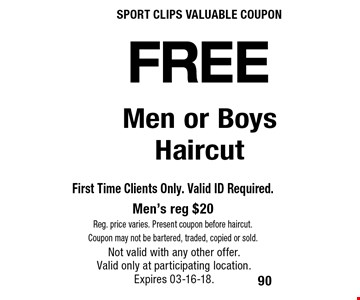 FREE Men or Boys Haircut. Not valid with any other offer. Valid only at participating location.Expires 03-16-18.
