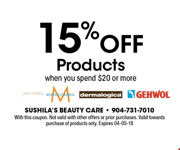 15%OFF Productswhen you spend $20 or more. With this coupon. Not valid with other offers or prior purchases. Valid towards purchase of products only. Expires 04-05-18