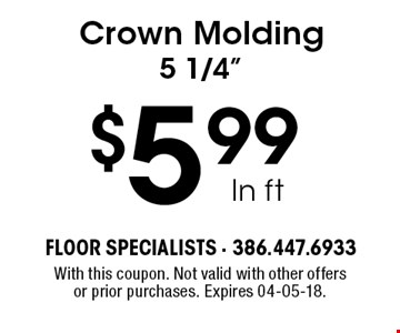 $5.99 ln ft Crown Molding 5 1/4