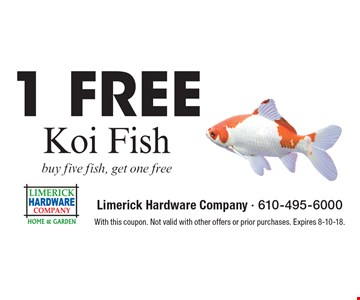 1 Free Koi Fish. Buy five fish, get one free. With this coupon. Not valid with other offers or prior purchases. Expires 8-10-18.