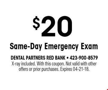 $20 Same-Day Emergency Exam. X-ray included. With this coupon. Not valid with otheroffers or prior purchases. Expires 04-21-18.