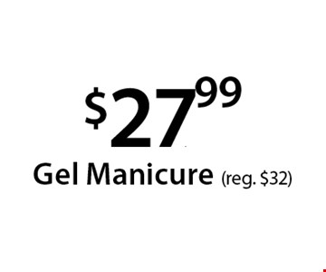 $27..99 Gel Manicure (reg. $32). With this Clipper coupon. Not valid with other offers or prior services. Offer expires 04-30-18.
