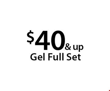 $40.& up Gel Full Set. With this Clipper coupon. Not valid with other offers or prior services. Offer expires 04-30-18.