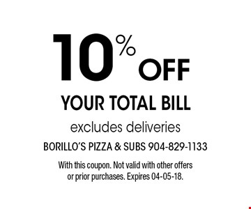 10% Off YOUR TOTAL BILLexcludes deliveries. With this coupon. Not valid with other offers or prior purchases. Expires 04-05-18.
